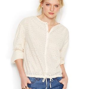 Free People ivory button up top